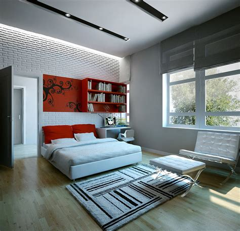 Red White Bedroom Dream Home Interiors By Open Design