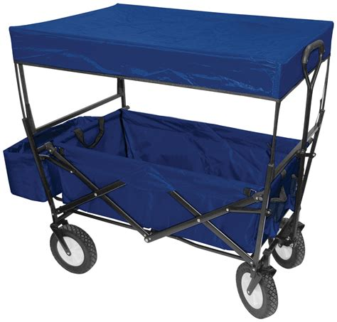wagon with canopy folding wagon w canopy garden utility travel cart blue ebay