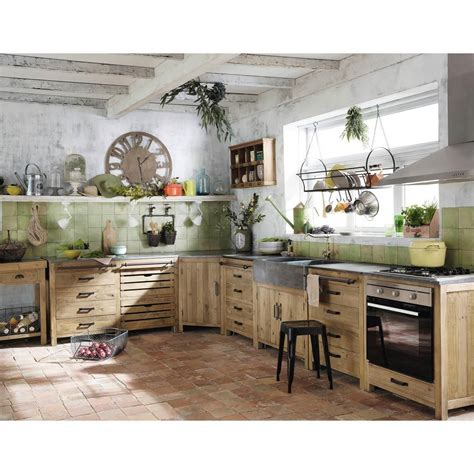 meuble bas d angle de cuisine en bois recycl 233 l 97 cm pagnol maisons du monde keuken