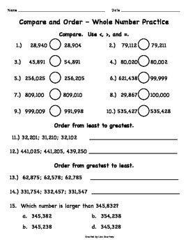 comparing  ordering numbers common core  grade