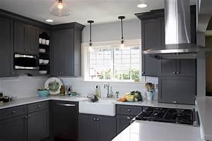 Miraculous, White, Kitchen, With, Grey, Walls, U2014, Modern, Design