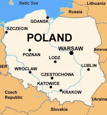English Language Map of Poland