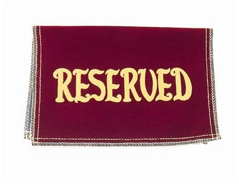 velvet quot reserved quot seat signs