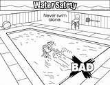 Coloring Alone Swim Never Safety Water Pages Colouring sketch template