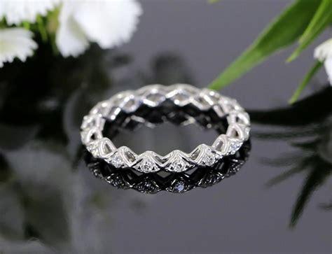 Unique White Gold Diamond Eternity Wedding Band, Stackable