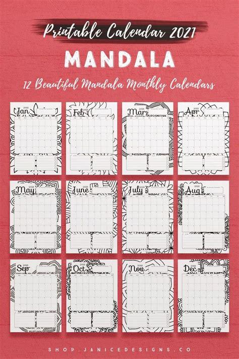 calendar mandala printable calendar calendar