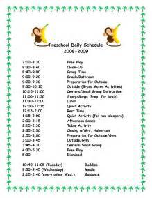 Free Preschool Daily Schedule Template