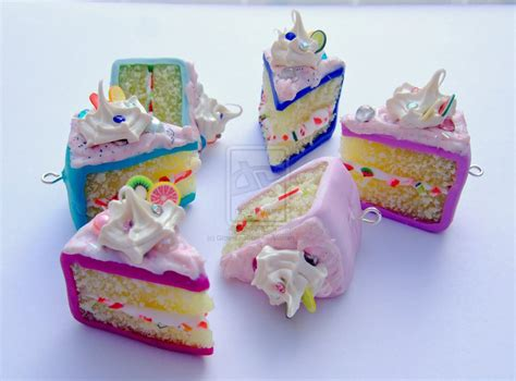 polymer clay cake slice charms  glitteramacrafts
