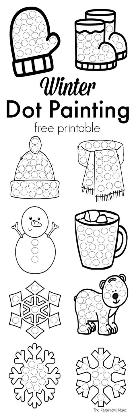 winter dot painting free printable the resourceful