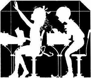 Vintage School Children Silhouette - The Graphics Fairy