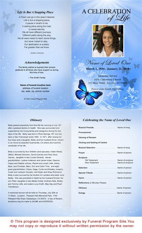 templateao memorial funeral program template