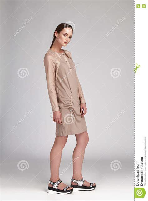 Brunette Woman Wear Fashion Clothes Casual Dress Stock