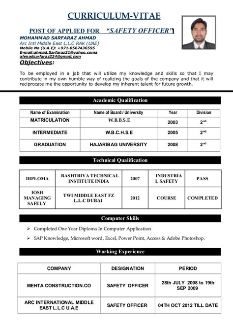 Cv Details Exle by Safety Officer Cv Doc