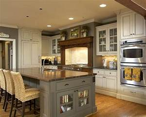 kitchen w grayish green island and almond painted With kitchen colors with white cabinets with salvador dali wall art