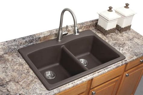 franke dual mount  granite  hole double bowl kitchen