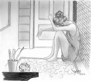 crying girl, lonely girl, pencil sketch, sad girl, girl ...