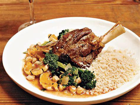 braised lamb shanks  roasted broccoli  squash