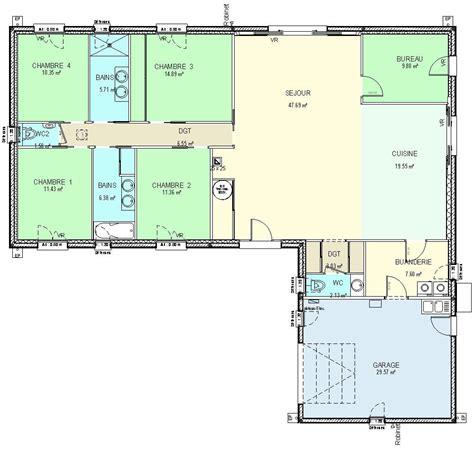 plan maison en l plain pied 3 chambres construction 86 fr gt plan maison plain pied de type 6