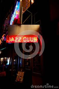 Neon Sign For A Jazz Club In Manhattan Editorial Stock