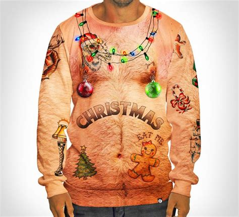 hairy chest  tattoos ugly christmas sweater