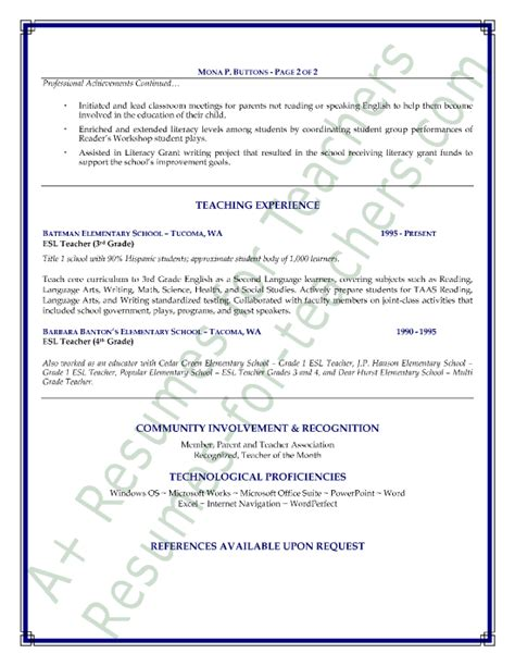 Esl Teaching Resume by Esl Resume Sle Page 2