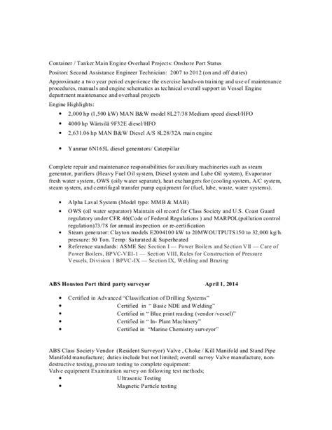 Maritime Resume Writing by Dnv Surveyor Resume
