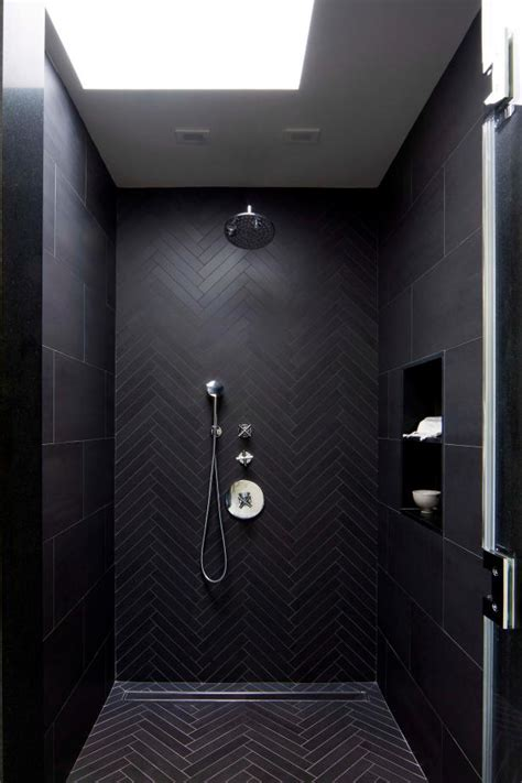 modern master bathroom shower detail  black