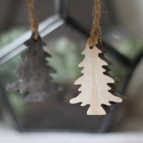 wooden trees hanging christmas tree decorations by the