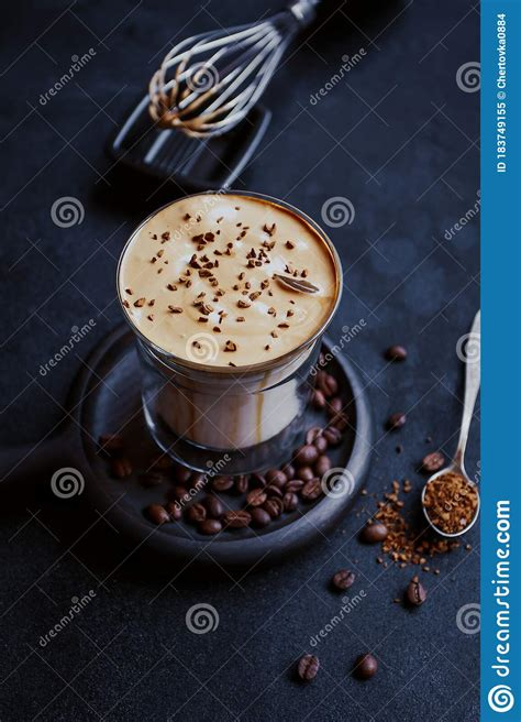 At blue bottle, we were inspired to test the trend. Dalgona Coffee, A Trendy Cool Fluffy Creamy Whipped Coffee. Stock Image - Image of cafe, fluffy ...