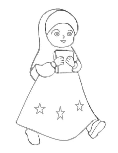 mewarnai gambar kartun anak perempuan muslimah azhan co