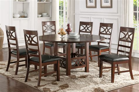 Dark Brown Faux Leather Cushion Seat Dining Chairs Dining