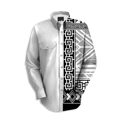 Shop Empire Art Deco Black and White Mens Dress Shirt Workshirt by christopherbeikmann   Print ...
