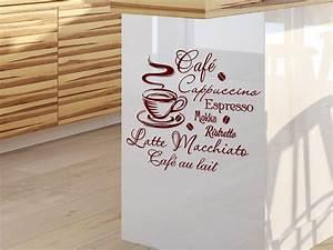 Sprüche Für Die Küche : wandtattoo kaffee mit kaffeetasse und kaffeesorten ~ Watch28wear.com Haus und Dekorationen