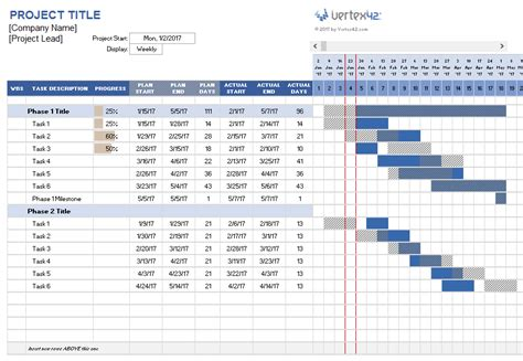 project template excel project planner template