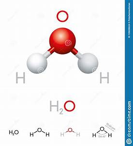 H2o Water Molecule Model And Chemical Formula Stock Vector