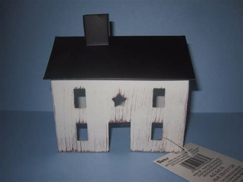 Rustic Tin Saltbox House Primitive Country Decor Ivory