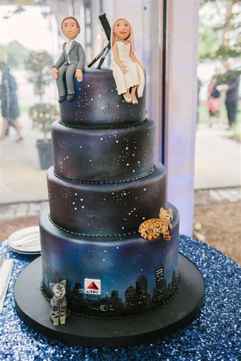 boston night sky wedding cake