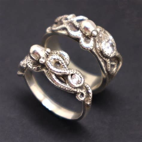 silver octopus engagement couple rings octopus jewelry etsy