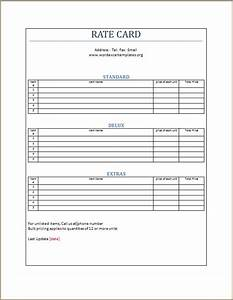 Contract Labor Invoice Template Rate Card Template Word Excel Templates
