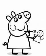Peppa Pig Coloring Pages Cartoon Colouring Printable Clipartmag Cartoons Svinka Rocks sketch template