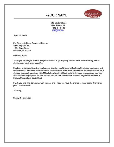 formal rejection letter  decline job offer sample