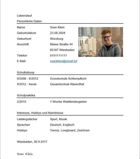 Lebenslauf Schüler by 13 Bewerbung Lebenslauf Sch 252 Ler Tonight You Die