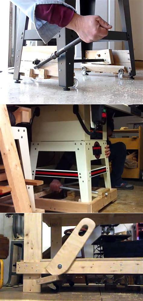 plans  build diy workbench retractable wheels  plans