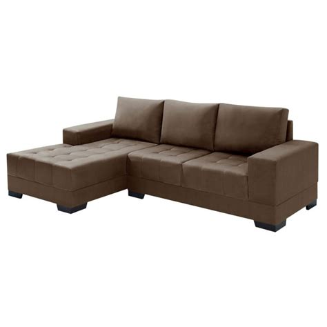 sofá 3 lugares suede chaise sof 225 3 lugares chaise patr 237 cia suede marrom