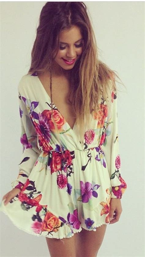 Summer outfits womens fashion clothes style apparel clothing closet ideas short floral dress ...