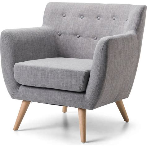 Scandinavian Retro Fabric Lounge Armchair In Grey Buy