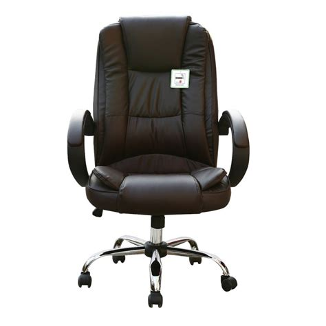 brown faux leather luxury swivel executive computer office