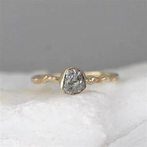 Raw Diamond Twig Engagement Ring - 14K Yellow Gold Branch ...