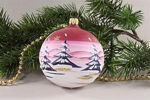 Weihnachtskugeln Glas Lauscha : 4 weihnachtskugeln 8 cm winterlandschaft rot aus lauscha ~ A.2002-acura-tl-radio.info Haus und Dekorationen