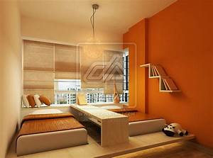 Orange, Bedroom, With, Two, Kids, Bed, Design
